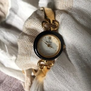 Peugeot Women's Black and Gold Watch